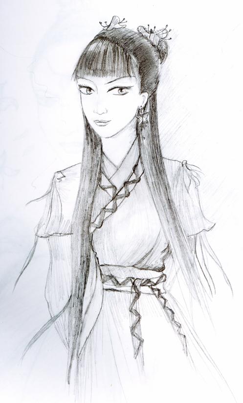 日本剑道古典美女_手绘素描古典美女_手绘