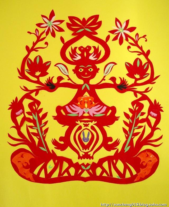 蛇剪纸图案(彩色)_乐乐简笔画