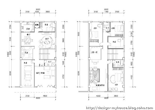 8米宽8米长3层设计图纸