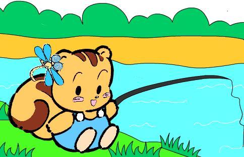 小朋友钓鱼简笔画彩色