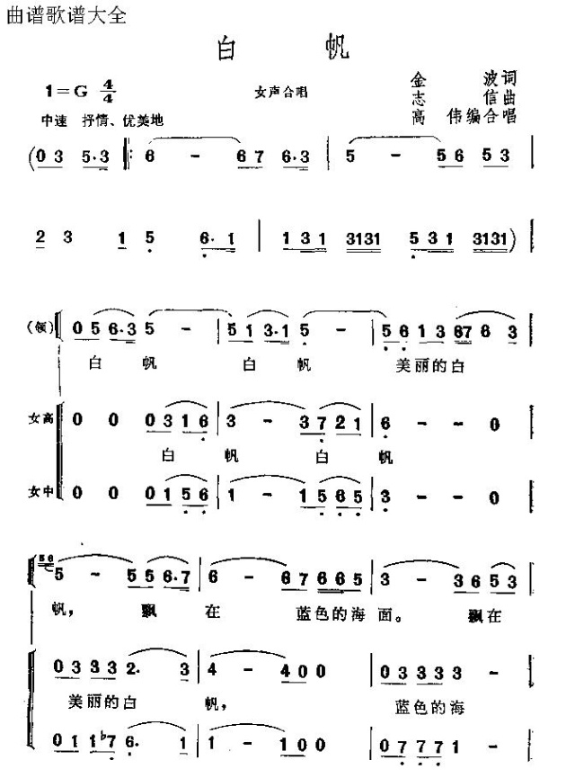 白帆-曲谱歌谱大全-搜狐博客