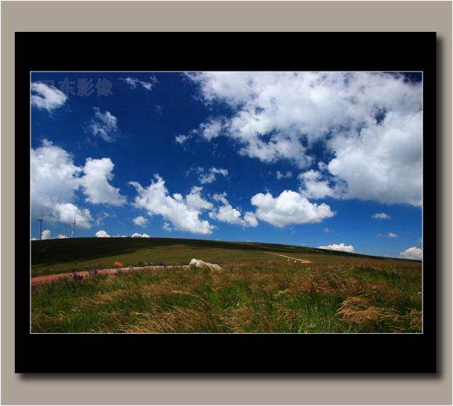 深蓝色的天空浮动着亮得刺眼的白云,凉爽的山风拨弄着柔顺的小草,不知