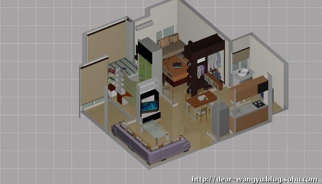 我自己设计的房子内部三维图