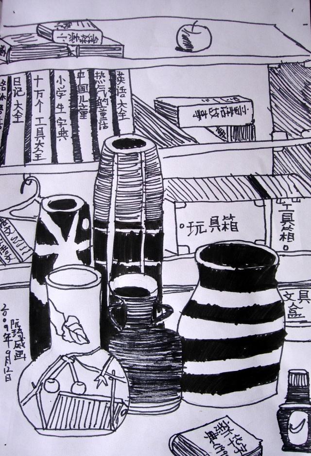 线描写生瓶子静物