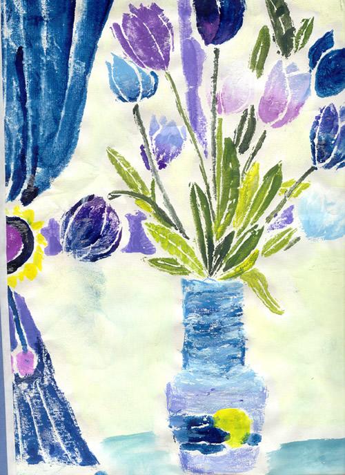 吹塑纸版画花卉素材