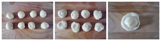5水油皮分成八等分,每份大约24克. 6水皮按扁,包入油酥.