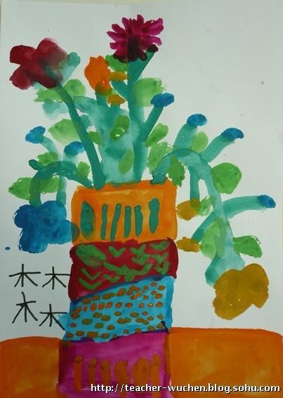 青花瓷花瓶儿童简笔画内容图片展示
