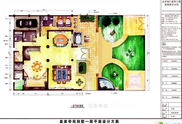 平面设计图; 别墅装修:鸣仁装饰赤峰皇家帝苑手绘